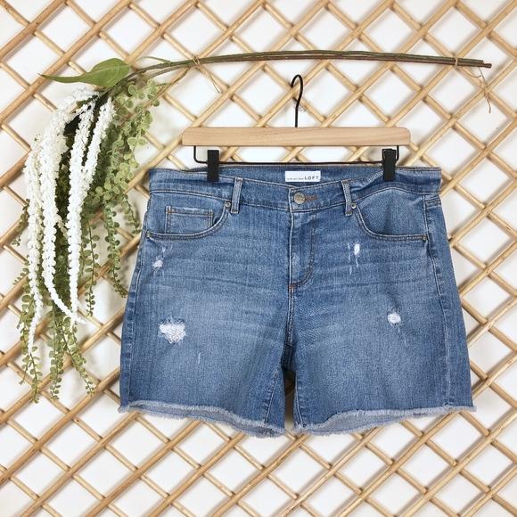 LOFT Pants - Ann Taylor Loft Stretch Raw Hem Denim Shorts